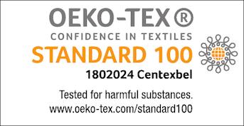 Certificado Oeko-Tex 100. Este certificado nos asegura que los tejidos han pasado controles de calidad y no tienen componentes nocivos para nuestra piel.