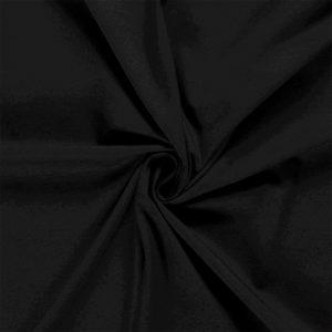 Tela de camiseta punto de algodón color negro
