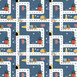 Tela de patchwork estampado con carreteras de camiones fonod azul