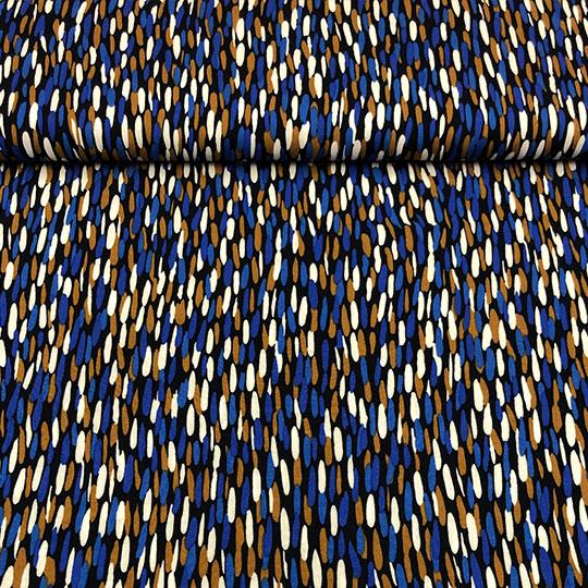 Tela con mucha caída de viscosa,ideal para verano, con estampado en pinceladadas azules.
