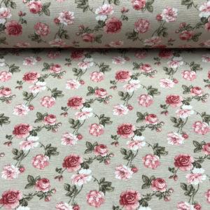 Loneta estampada rosas fondo taupé