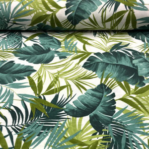 Loneta estampada hojas tropicales verdes