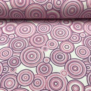 Loneta estampada de círculos de puntos en tonos rosas