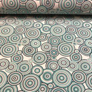 Loneta estampada de círculos de puntos en tonos azules