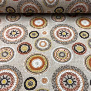 Loneta estampada círculos mandala tonos naranjas