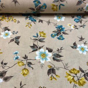 Loneta estampada con flores ocres y azules