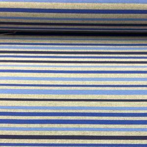 Loneta estampada rallas azules