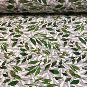 Loneta estampada de ramas verdes y grises