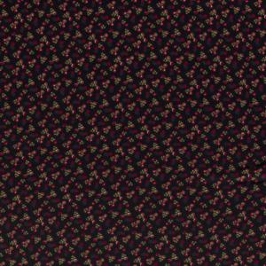 Tejido de viscosa elástica con estampado de flores negro
