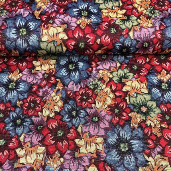Tela de tapicería gobelino estampado con flores rojas