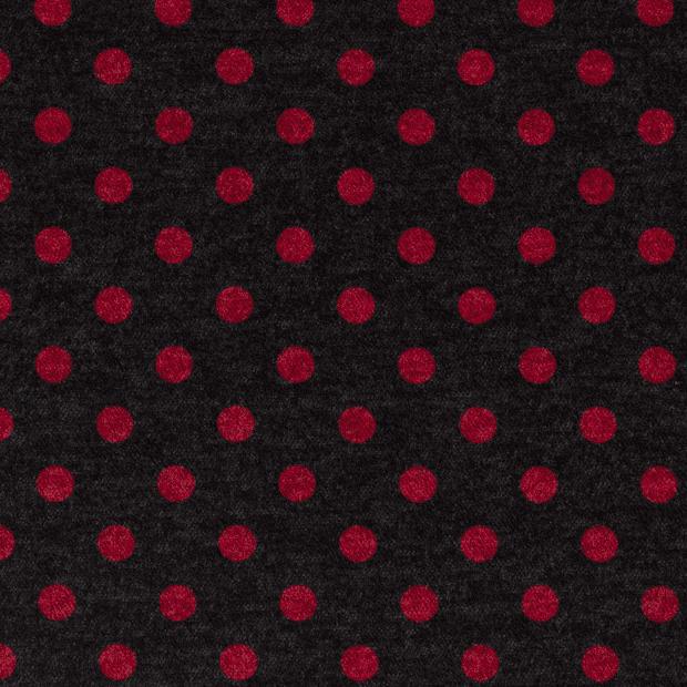 Punto de viscosa elástica fondo gris con topos rojos