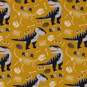 Tela de punto de sudadera de verano de algodón color blanco con estampado de dinosaurios con huesos fondo ocre