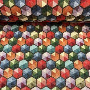 Tela de tapicería gobelino estampado con hexágonos