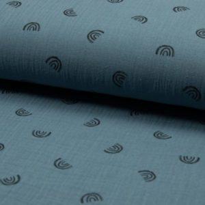 Tela de muselina de algodón 100x100 con arco íris negro fondo dusty blue