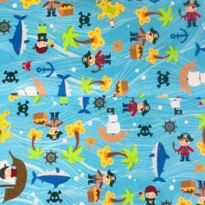 Algodón popelín de algodón para creatividades de patchwork con piratas en busca del tesoro
