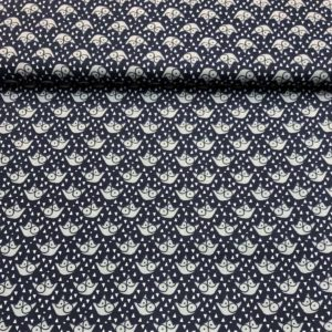 Algodón popelin tipo patchwork estampado zorros grises fondo azul marino