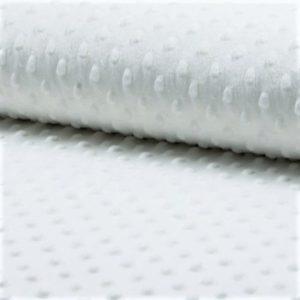Minky blanco ótpico para confecciones de invierno con moteado en relieve