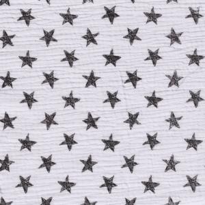 Tela de muselina de algodón 100x100 con estrellas fondo blanco