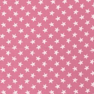 Tela de muselina de algodón 100x100 con estrellas blancas fondo rosa