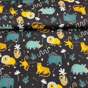 Punto de camiseta de algodón estampado animales selva en azul y amarillo