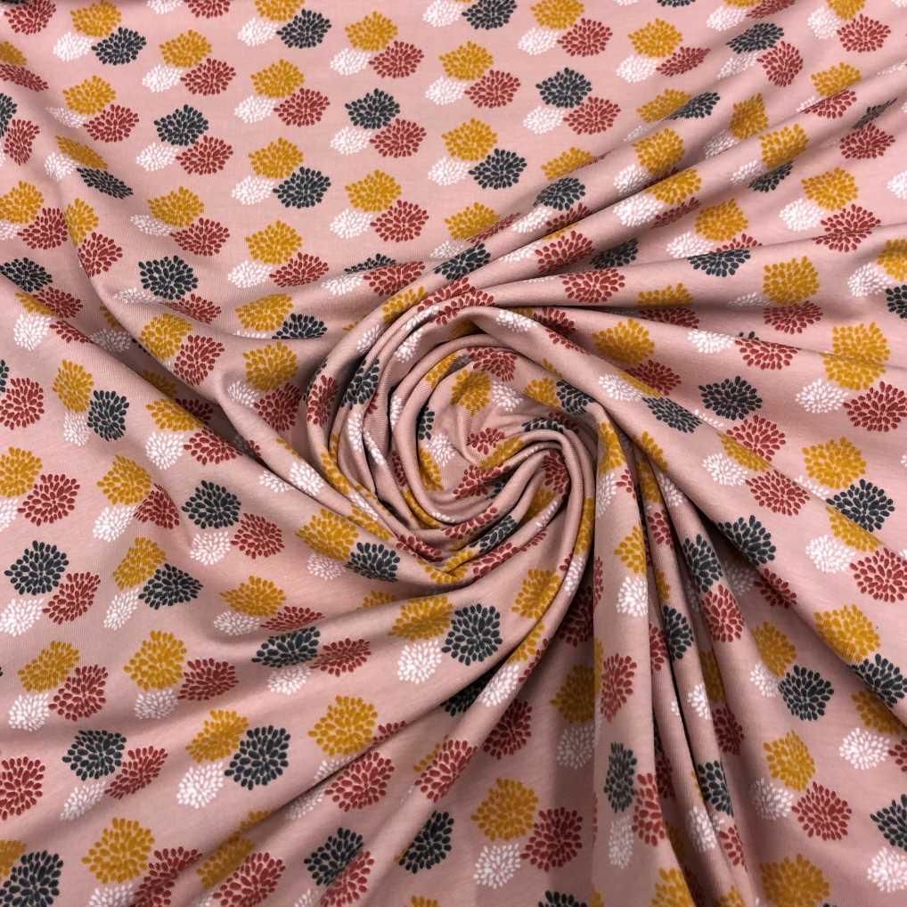 Punto de camiseta de algodón ORGÁNICO estampado con esporas fondo rosa