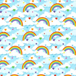 Punto de camiseta de algodón estampado arcoíris y nubes fondo azul bebé