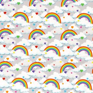 Punto de camiseta de algodón estampado arcoíris y nubes fondo gris