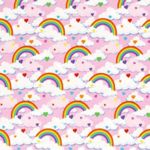 Punto de camiseta de algodón estampado arcoíris y nubes fondo rosa