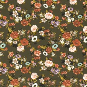 Tela de punto de camiseta de algodón orgánico tipo Jersey estampado flores fondo caqui