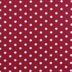 Algodón popelín de algodón para creatividades de patchwork con topos blancos fondo cereza