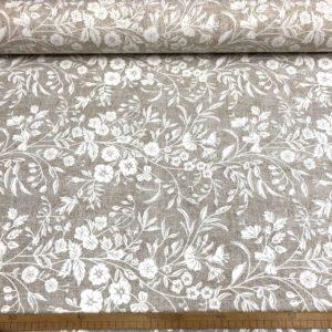 Hule resinado estampado flores blancas fondo gris