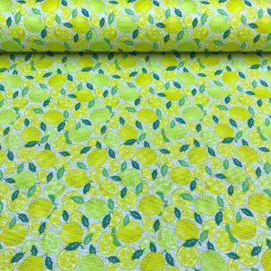 Hule resinado antimanchas estampado con limones