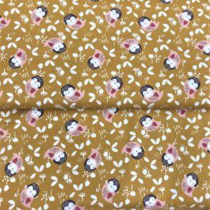Algodón popelín de algodón para creatividades de patchwork algodón buhos fondo ocre