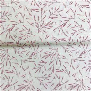Algodón popelín de algodón para creatividades de patchwork con ramas lilas fondo blanco