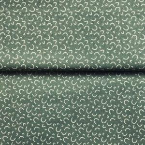 Patchwork algodón estampado tipo popelín semicírculo crudo fondo verde
