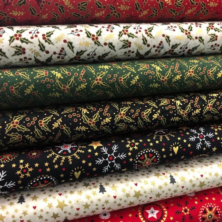 Tela de popelín de algodón tipo patchwork estampado de navidad