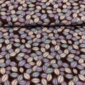 Punto de camiseta de algodón estampada con hojas de árbol tonos grantates