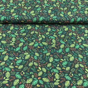 Punto de camiseta de algodón estampada con hojas y mariposas fondo verde